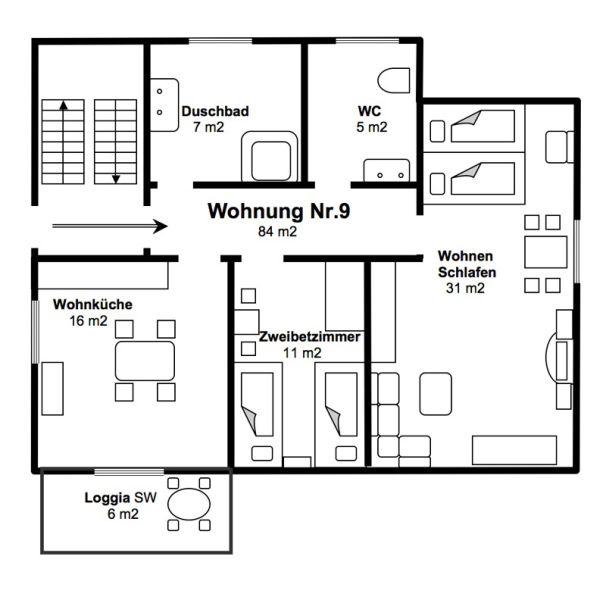 2-Zimmer-Ferienwohnung: Fewo :: 84 m²