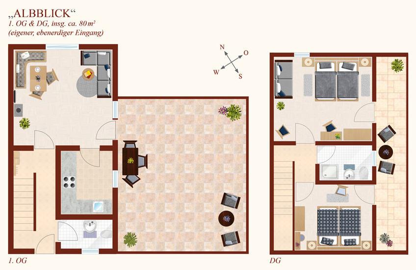 3-Zimmer-Ferienwohnung: Albblick :: 80 m²