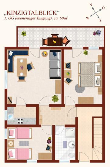 3-Zimmer-Ferienwohnung: Kinzigtalblick :: 60 m²