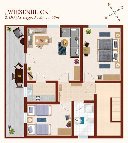 3-Zimmer-Ferienwohnung: Wiesenblick :: 60 m²