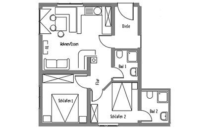 3-Zimmer-Ferienwohnung: FW-3 :: 58 m²