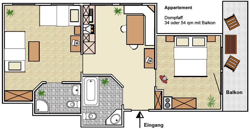2-Zimmer-Ferienwohnung: Dompfaff :: 54 m²