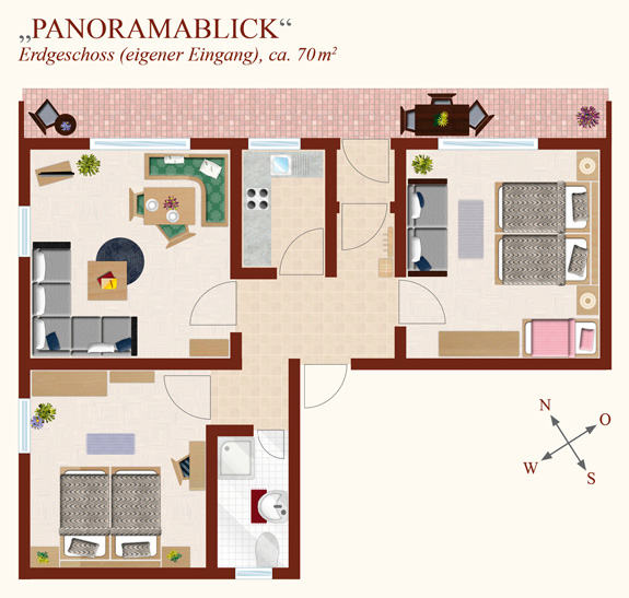 3-Zimmer-Ferienwohnung: Panoramablick :: 70 m²