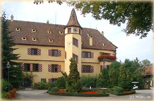 Das Schmuckstück von Rust ist das Schloß von 1577, mit seinem von Gaupen belebten Dach und dem schönen, alles überragenden Treppenturm.